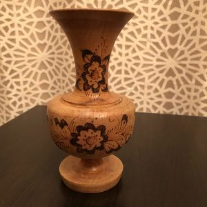 Small Decorative Wooden Boho Floral Vase